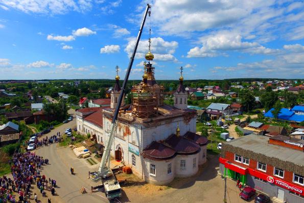 На храм святителя Николая Чудотворца города Лаишево установили центральный купол